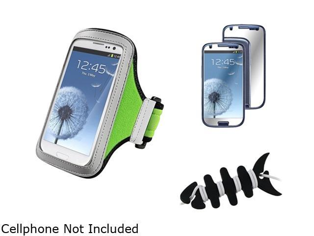 Insten Black Headset Smart Wrap, Black Fishbone + Light Green Armband + Mirror Screen Protector Compatible With Samsung Galaxy SIII/S3