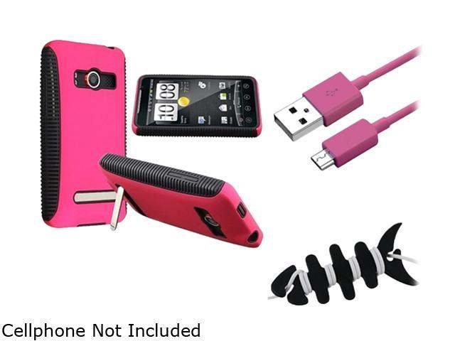 Insten Black TPU/Hot Pink Plastic Hybrid Case + Hot Pink Micro USB 2- in-1 Cable + Black Headset Smart Wrap, Black Fishbone Compatible With HTC EVO 4G/Supersonic