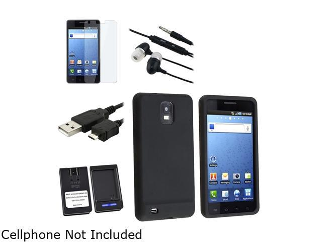 Insten Black Silicone Skin Case + Black USB Data / Charging Cable (Micro USB) + Black In-Ear Headset w/ On-off & Mic Bundle Compatible With Samsung Infuse 4G SGH-i997