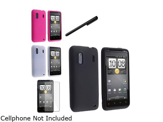 Insten Black Silicone Skin Case + Hot Pink Silicone Skin Case + Clear White Silicone Skin Case Bundle Compatible With HTC EVO Design 4G / Hero S / Hero 4G