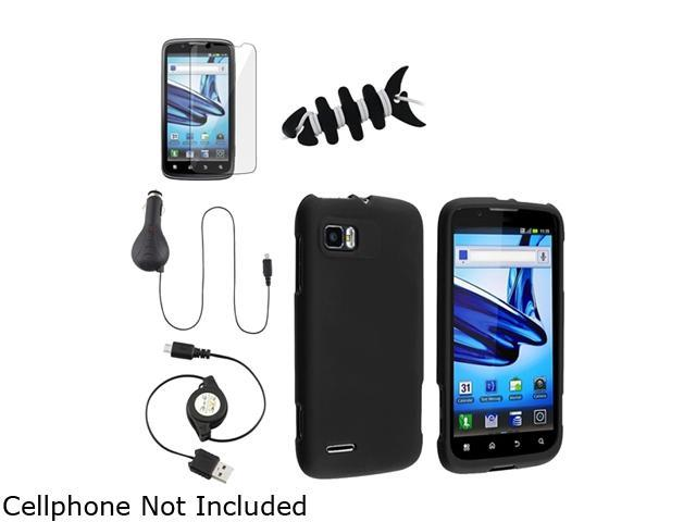 Insten Black Snap-on Rubber Coated Case + Screen Protector + Black USB Micro 5-pin Car Charger Bundle Compatible With Motorola MB865 Atrix 2