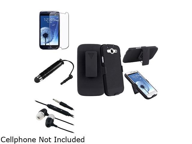 Insten Black In-Ear Headset w/ On-off & Mic + Black Holster w/ Stand + Screen Protector Bundle Compatible With Samsung Galaxy SIII / S3