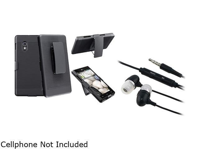 Insten Black Swivel Holster with Stand Case + Black In-ear (w/on-off) & Mic Stereo Headsets Compatible with LG Optimus G E970