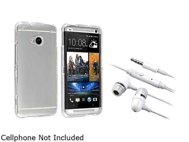 Insten Clear Snap-on Crystal Case + White In-ear (w/on-off) & Mic Stereo Headsets for HTC One M7