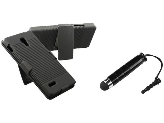 Insten Black Swivel Holster with Stand Hard Plastic Case + Black Stylus Pen for LG Optimus L9 P769