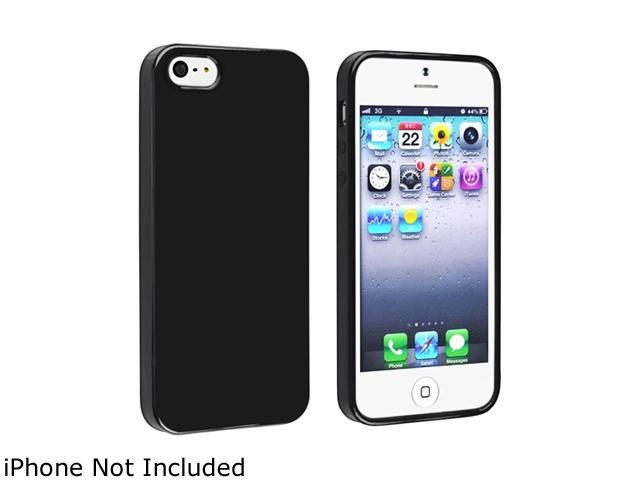 Insten TPU Rubber Skin Case Cover Compatible With Apple iPhone 5 / 5S, Black Jelly