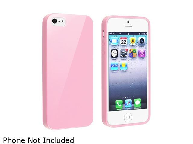 Insten TPU Rubber Skin Case Cover Compatible With Apple iPhone 5 / 5S, Light Pink Jelly