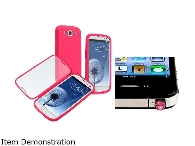 Insten Hot Pink / Clear Frosted Cover Book TPU Case + Pink Diamond Headset Dust Cap Compatible with Samsung Galaxy S3 SIII i9300