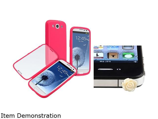 Insten Hot Pink / Clear Frosted Cover Book TPU Case + Beige Rose Headset Dust Cap Compatible with Samsung Galaxy S3 SIII i9300