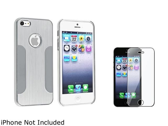 Insten Silver Brushed Chrome Aluminum Case + Reusable LCD Screen Protector Guard Film Shield compatible with Apple iPhone 5
