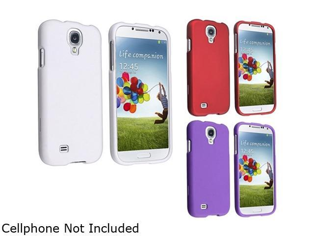 Insten White + Purple + Red Rubber Hard Skin Coated Case Compatible with Samsung Galaxy S4 SIV i9500