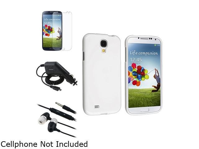 Insten White TPU Case + Matte Screen Protector + Charger + Black Headphone Compatible with Samsung Galaxy S4 SIV i9500