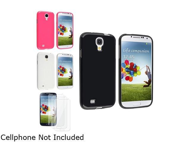 Insten Black + Pink + Clear Rubber TPU Case + 3 Clear LCD Screen Protector Compatible with Samsung Galaxy SIV S4 i9500