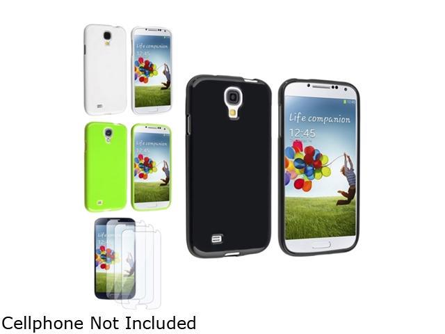 Insten Black + White + Green TPU Skin Gel Case + 3 Clear LCD Screen Protector Compatible with Samsung Galaxy S4 i9500