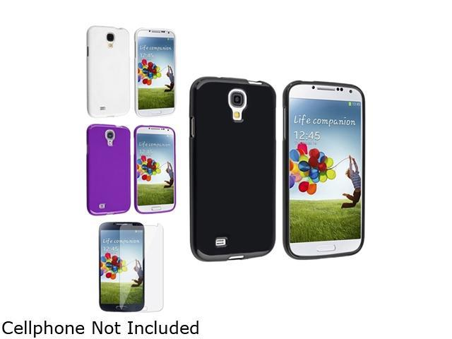 Insten Black + White + Purple Jelly Soft Gel CASE + Clear Film Compatible with Samsung Galaxy S4 SIV i9500
