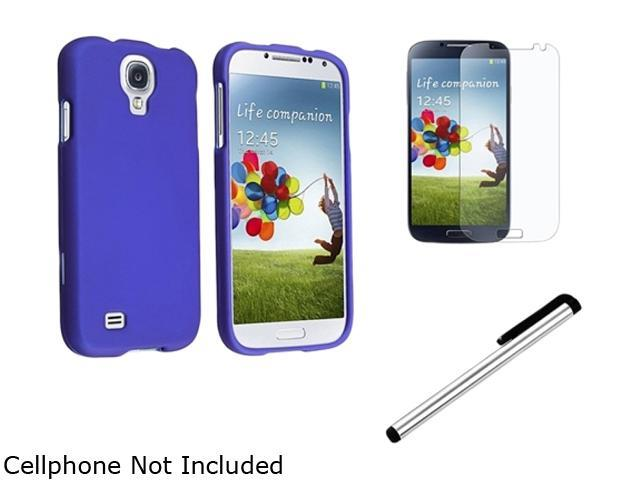 Insten Blue Hard Case Cover + Matte LCD Screen Protector + Silver Stylus Compatible with Samsung Galaxy S4 4 i9500