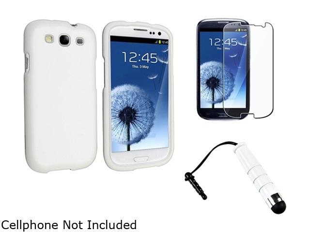 Insten White Snap-on Rubber Coated Case + Reusable Screen Protector + White Mini Stylus Compatible With Samsung Galaxy SIII/S3