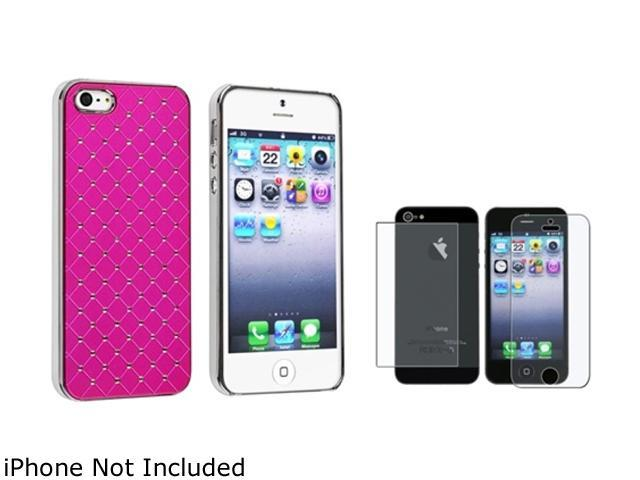 Insten Hot Pink Diamond Quilted Leather Clip-on Case Cover + Anti-Glare Front & Back Screen Protector Compatible With Apple iPhone 5 / 5s 814755