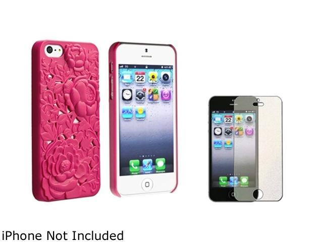 Insten Pink Rose Hot Pink 3D Sculpture Rose Snap-on Hard Case Case + Colorful Diamond Screen Protector 803537