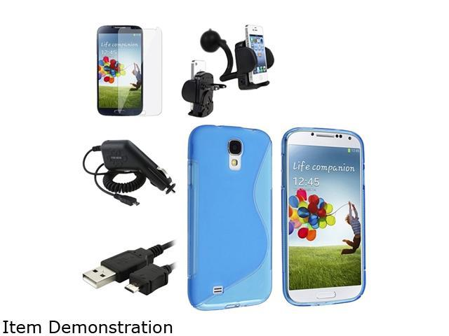 Insten Blue S TPU Case + Clear Screen Film + USB Cable + Car Charger + Holder Compatible with Samsung Galaxy SIV S4 i9500