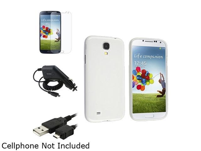 Insten Clear TPU Skin Case Cover + Matte Screen Protector + Cable + Charger Compatible with Samsung Galaxy S4 i9500