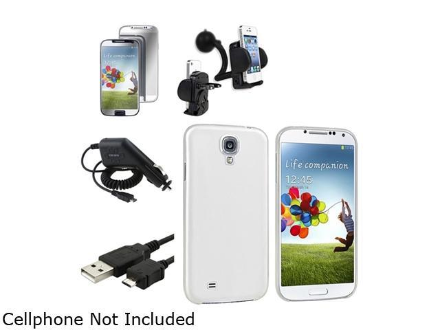 Insten Clear White Hard Case + Mirror Screen Protector + Charger + Mount Compatible with Samsung Galaxy SIV S4 i9500