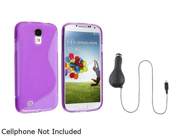 Insten Purple S Line TPU Soft Case + Retractable Car Charger Compatible with Samsung Galaxy S4 i9500