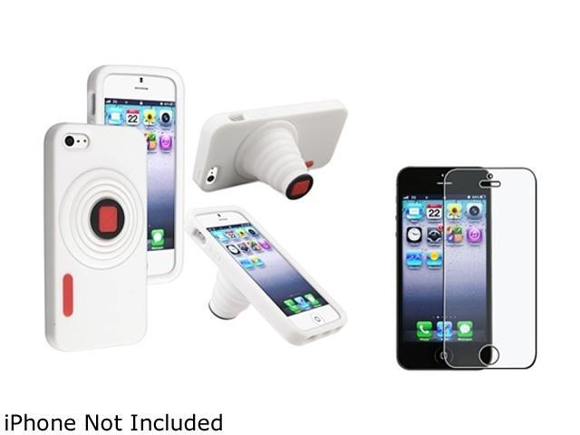 Insten White Camera Gel Stand Case + Reusable Anti-glare Screen Protector 804583