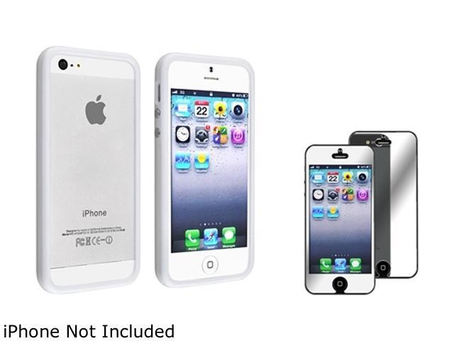 Insten White Bumper TPU Case Cover w/ Alum Button + Mirror Screen Cover Compatible With Apple iPhone 5 / 5s 808142