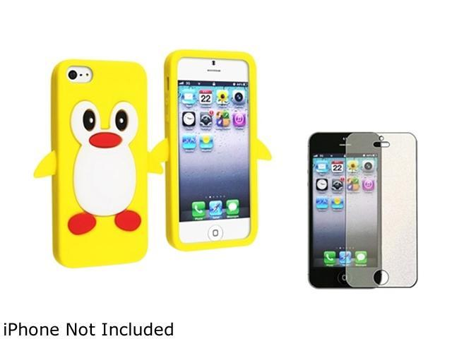 Insten Yellow Cute Cartoon Case with FREE Colorful Diamond Screen Protector Compatible With Apple iPhone 5 814896