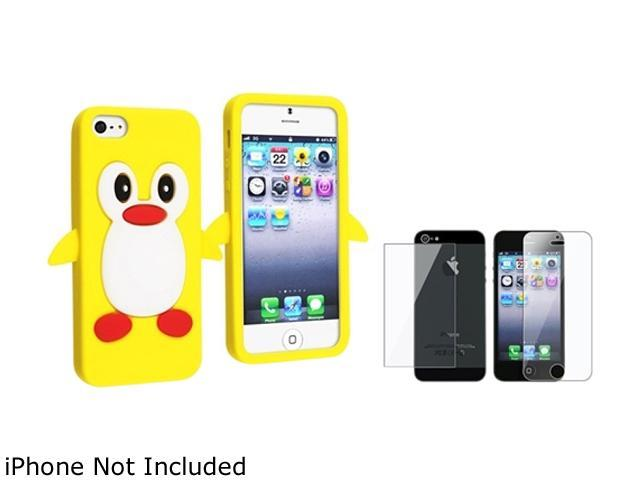 Insten Yellow Penguin Jelly Silicone Cute Cartoon Case Cover + Front & Back Screen Protector Compatible With Apple iPhone 5 / 5s 814897