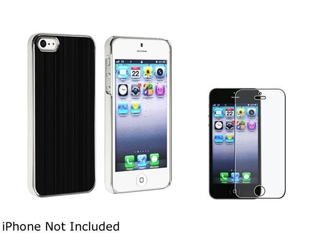 Insten Black Brushed Aluminum Rear Snap-on Case + Reusable Anti-glare Screen Protector 804591