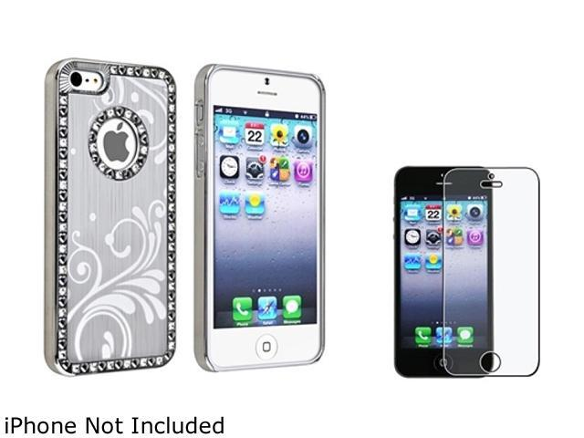 Insten Silver Flower Snap-on Case with FREE Anti-Glare LCD Cover compatible with Apple iPhone 5 814896