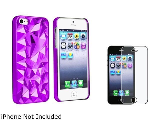 Insten Clear Purple Diamond Cut Clip-on Case + Anti-Glare LCD Cover Compatible With Apple iPhone 5 / 5s 831786