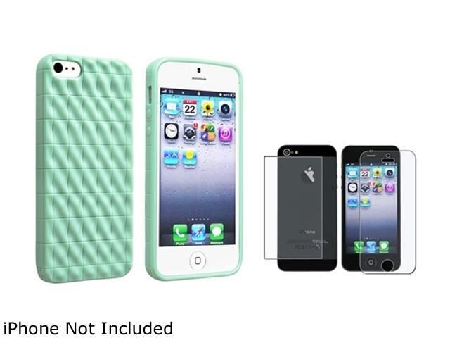 Insten Mint Green 3D Wave TPU Rubber Skin Case Cover + Anti-Glare Front & Back Screen Protector Set Compatible With Apple iPhone 5 / 5s 803791