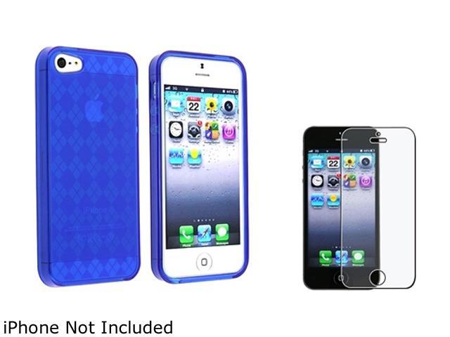 Insten Dark Blue Argyle Candy Skin Case with FREE Anti-Glare Screen Protector 803820