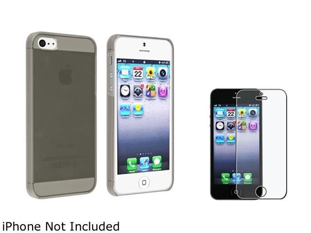 Insten Clear Smoke Clip-on Slim Case + Anti-Glare LCD Cover Compatible With Apple iPhone 5 / 5s 831818