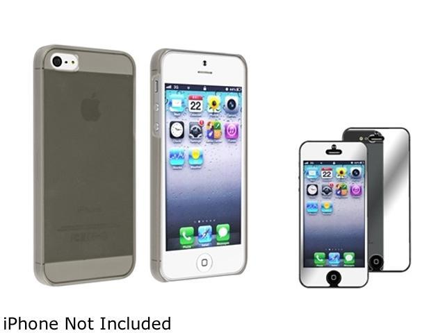 Insten Smoke Clear Snap-on  Slim  Case with FREE Mirror Screen Protector compatible with Apple iPhone 5 831819