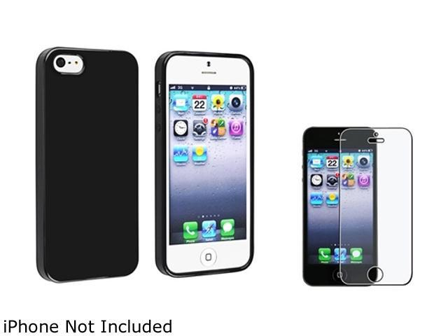 Insten Black Jelly TPU Rubber Case Cover + Anti-Glare Screen Cover Compatible With Apple iPhone 5 / 5s 814766