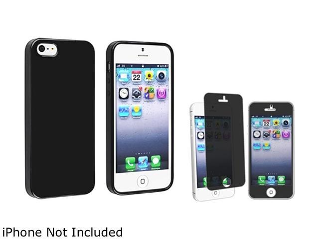 Insten Black Jelly TPU Rubber Case And Privacy LCD Filter for Apple iPhone5 / 5s 814767
