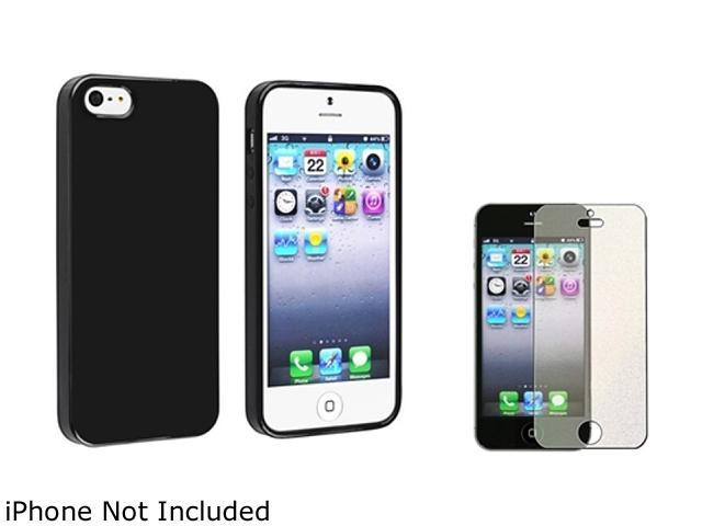 Insten Black Jelly TPU Rubber Case with Colorful Diamond Screen Protector for Apple iPhone5 / 5s 814768