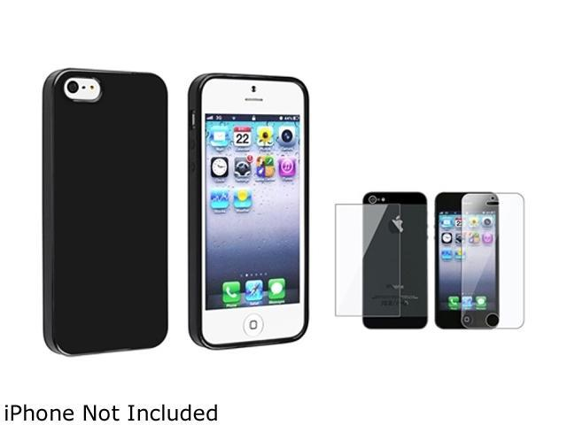 Insten Black Jelly TPU Rubber Case Cover + Front & Back Screen Protector Compatible With Apple iPhone 5 / 5s 814769