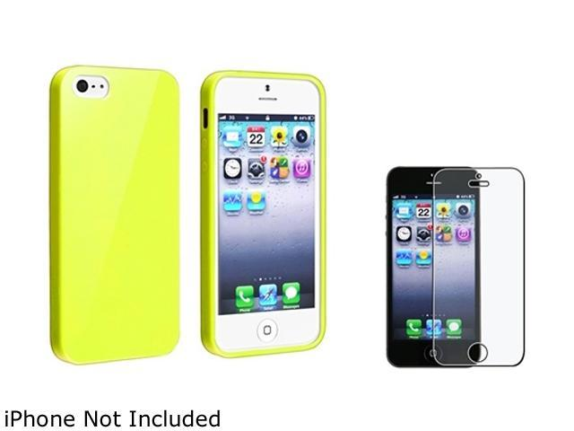Insten Yellow Jelly TPU Rubber Case Cover + Anti-Glare Screen Cover Compatible With Apple iPhone 5 / 5s 814774