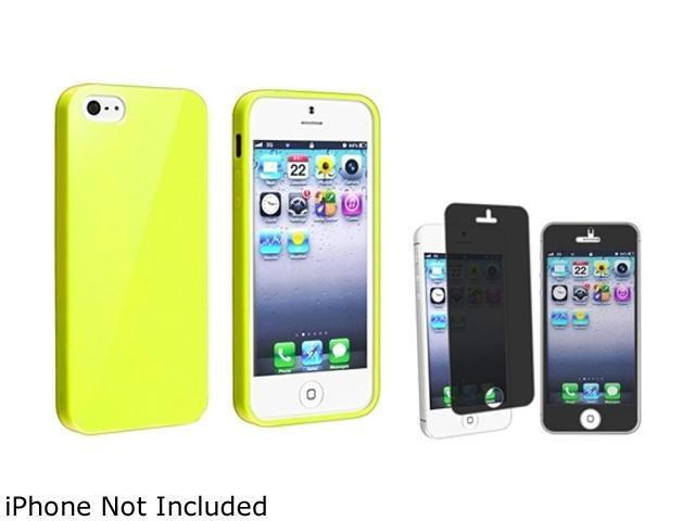 Insten Yellow Jelly TPU Rubber Case And Privacy LCD Filter for Apple iPhone5 / 5s 814775