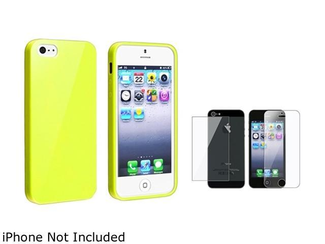 Insten Yellow Jelly TPU Rubber Case Cover + Front & Back Screen Protector Compatible With Apple iPhone 5 / 5s 814777