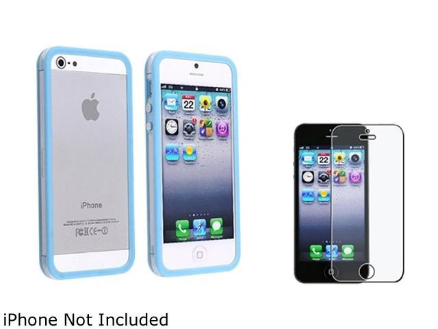 Insten Clear / Sky Blue Bumper TPU with Aluminum Button Case Cover + Anti-Glare Screen Cover Compatible With Apple iPhone 5 / 5s 814806