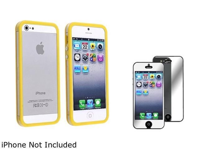 Insten Clear / Yellow Bumper TPU with Aluminum Button Case Cover + Mirror Screen Cover Compatible With Apple iPhone 5 / 5s 814821