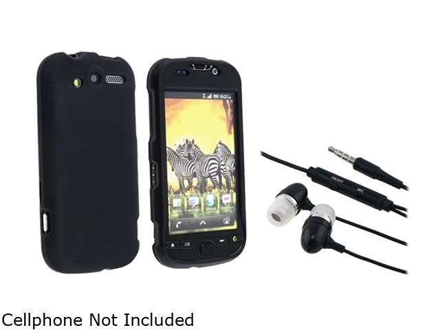 Insten Black Snap-on Rubber Coated Case+Black Universal 3.5mm In-Ear Stereo Headset w/ On-off & Mic Compatible With HTC myTouch 4G T-Mobile myTouch 4G