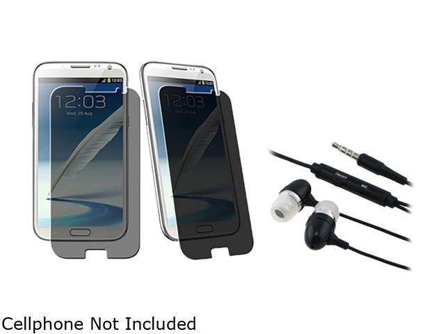Insten Black Universal 3.5mm In-Ear Stereo Headset w/ On-off & Mic+3X Privacy Filter Screen Protector Compatible With Samsung Galaxy Note II N7100