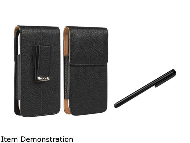 Insten Black/ Brown Universal Vertical Leather Case+Black Universal Touch Screen Stylus Compatible With Samsung Galaxy S3 S III i9300 Mini